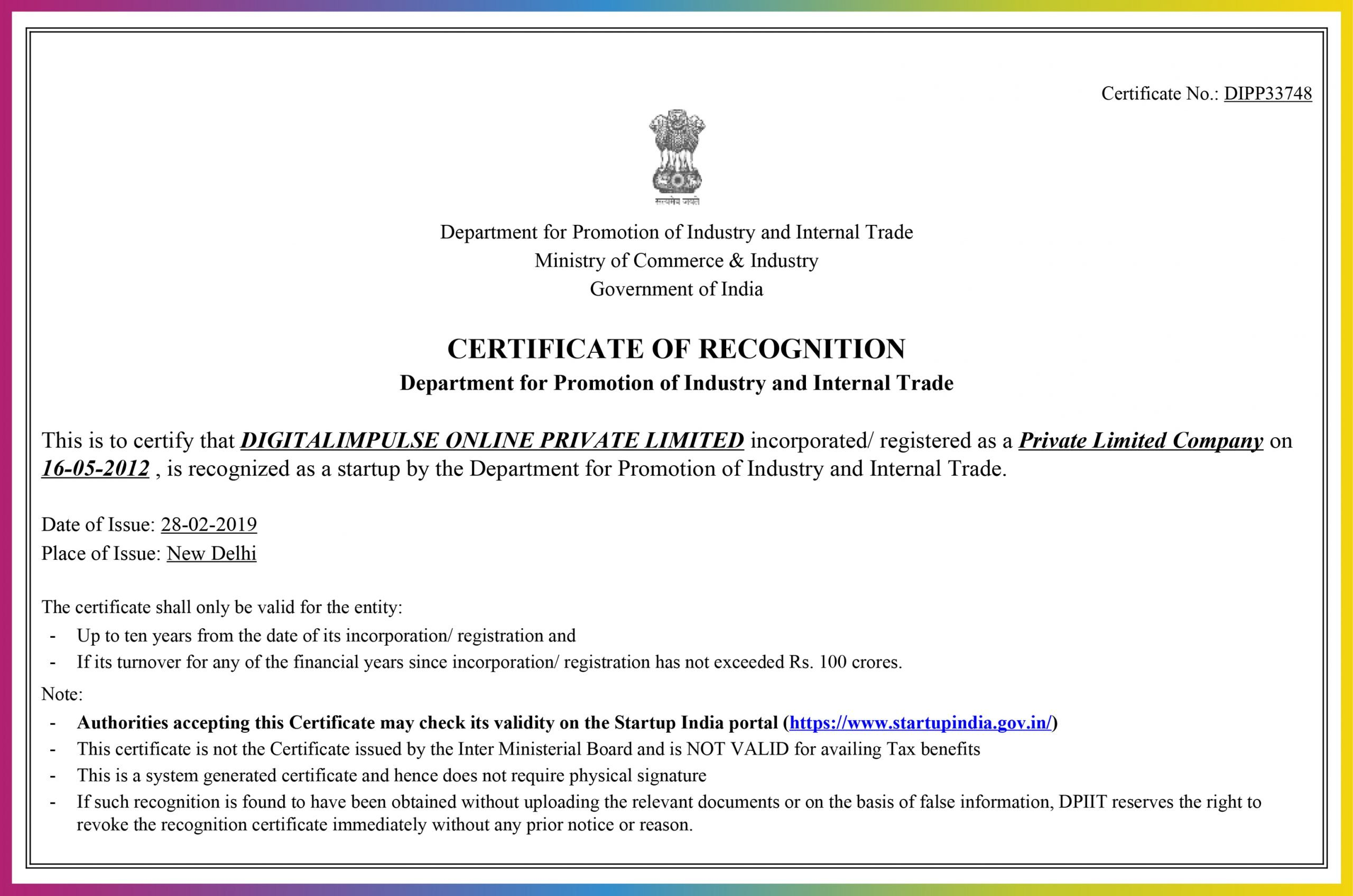 Digitalimpulse Online Private Limited Certificate of Recognition